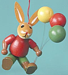 Vintage Wooden Bunny & Balloons Christmas Ornament