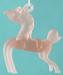Pink Frosted Glass Horse Christmas Ornament (Image1)