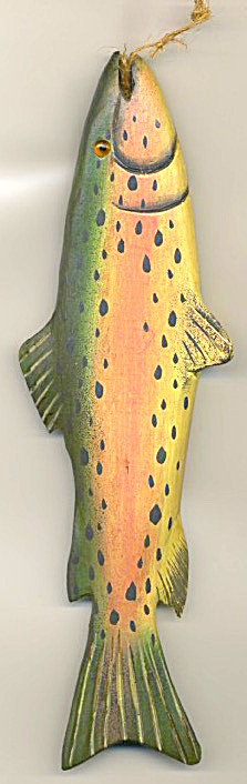 "9"" Wooden Fish With Glass Eyes Ornament"