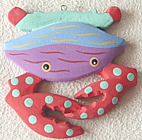 Wooden Crab Christmas Ornament (Image1)
