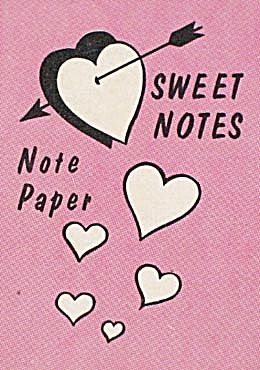 Cracker Jack Toy Prize: Note Paper Sweet Notes