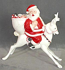 Vintage Plastic Large Reindeer & Santa Candy Container (Image1)