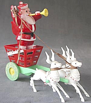 Santa in Cart Pulled by Reindeer Candy Container (Image1)