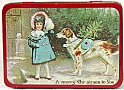 Christmas Tin with Girl & Dog & Holly Cat Set of 2 (Image1)
