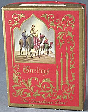Vintage 3 Wise Men On Camels Christmas Card Box