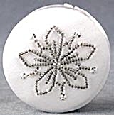 White Satin Beaded Box Christmas Ornament