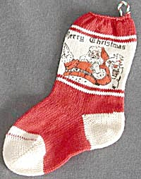 Vintage Small Santa Christmas Stocking