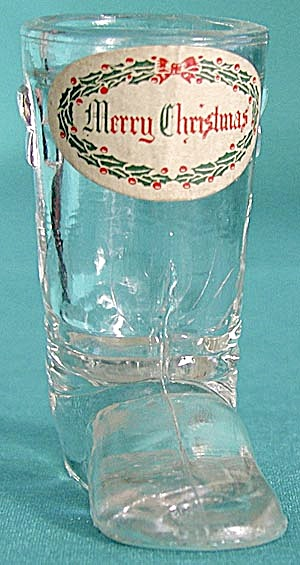 Vintage Glass Boot Candy Container