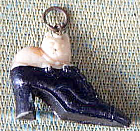 Vintage Celluloid Cat In Shoe Charm
