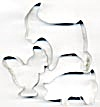 Vintage Metal Farm Animals Cookie Cutters Set Of 3