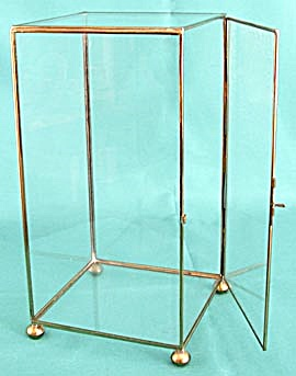 Vintage Brass & Glass Display Case with Ball Feet (Image1)