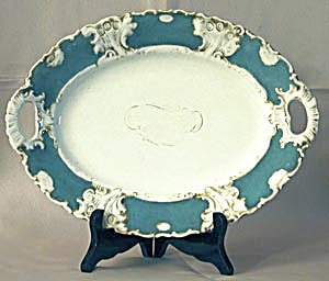 Antique Austrian Aqua & White Handled Platter (Image1)