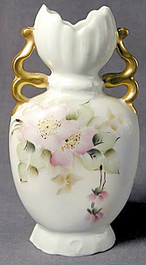 Bavarian Vase With Apple Blossoms Vintage