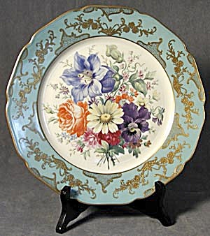 Rucni Prace Czechoslovakia Hand Painted Floral Plate (Image1)