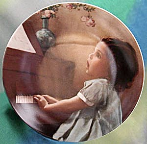 Little Girl in Blue Dress Playing the Piano (Image1)