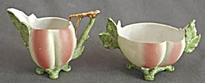 Vintage Unusual Peach Shaped Creamer & Sugar