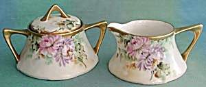 Vintage Hand Painted & Signed Creamer & Sugar
