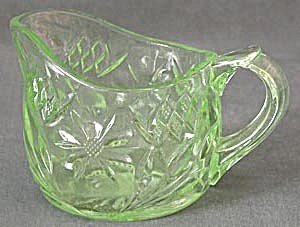 Vintage Green Pressed Glass Creamer