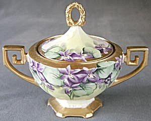 Art Deco Hand Painted/signed Sugar Bowl With Violets