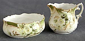 Antique Hand Painted Creamer & Sugar (Image1)