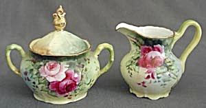 Vintage Creamer & Sugar Hand Painted With Roses