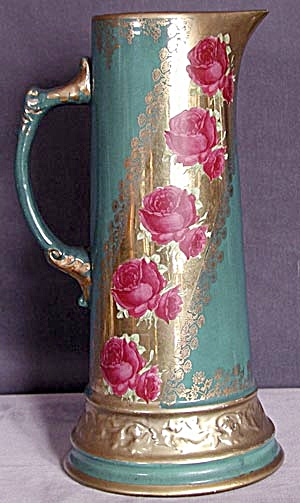 Large Turquoise with Fuchsia Roses Pitcher/Tankard (Image1)