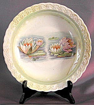 Vintage Luster Bowl With Water Lilies