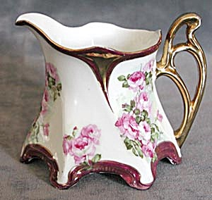 Antique Footed & Double Handled Rose Cream Pitcher