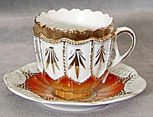 Vintage Orange & Gold Demi Cup and Saucer (Image1)