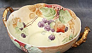 Thorn Shaped Handled Bowl Hand Painted Blackberries