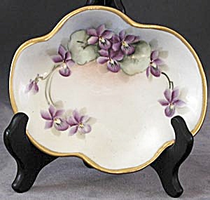 Vintage Hand Painted Signed Violet Tray