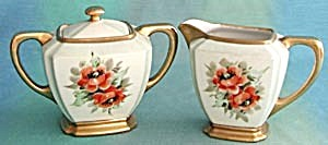 Vintage Hand Painted Poppy Creamer & Sugar (Image1)
