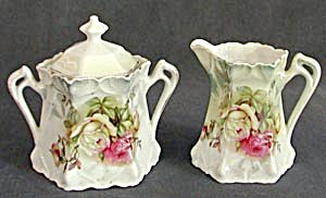 Antique German Luster Creamer & Sugar With Roses