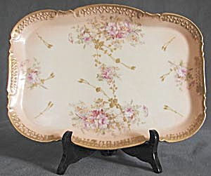Antique Limoges Dresser Tray with Roses (Image1)