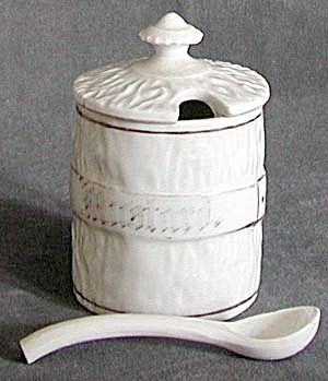 Antique White China Mustard Pot with Spoon (Image1)