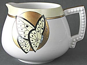 Vintage Hand Painted Butterfly Cider Pitcher  (Image1)