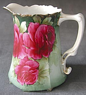 Antique Lemonade / Cider Pitcher With Beautiful Roses