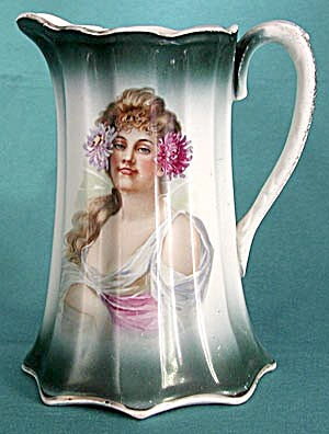 Antique Lemonade / Cider Pitcher With Lovely Woman