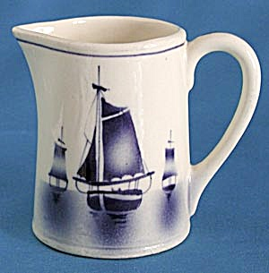 Vintage White & Blue Czech Sailboat Cream Pitcher (Image1)