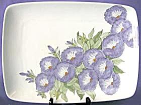 Vintage Hand Painted Purple Gloxinias Platter (Image1)