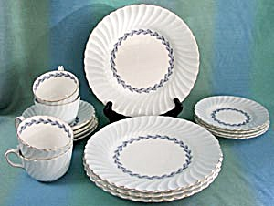 Minton Cheviot Blue Luncheon Set For 4