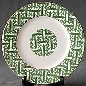 Fretwork-Green (Shanghai) Coalport China Plate (Image1)