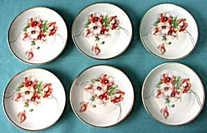 Vintage Set Of 6 Hand Painted Poppy Plates