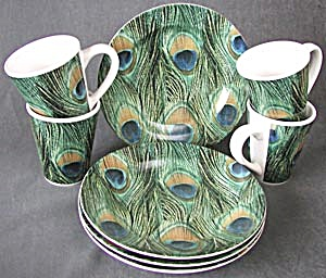 Signature Peacock Feather Plates & Mugs (Image1)