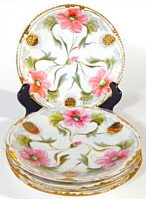 Nippon Hand Painted Gold Thistle & Pink Flowers Plates