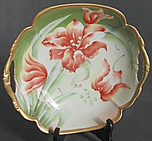 Art Nouveau Limoges Signed Hand Painted Lilly Bowl
