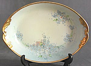 Vintage Limoges Hand Painted Forget Me Not Dish