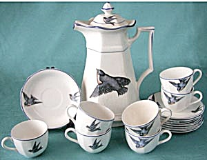 Antique Chocolate Pot Set With Bluebirds (Image1)