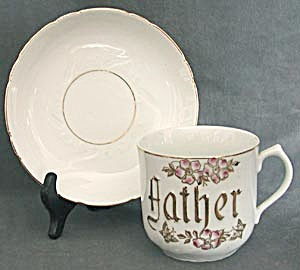 Antique German Oversized Father Cup And Saucer