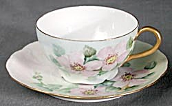 Antique Royal Crown Bavarian Wild Rose Cup & Saucer